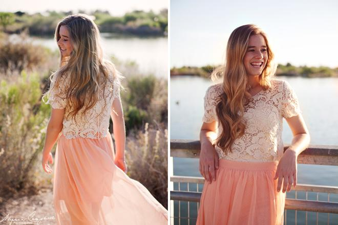 girl senior fashion coral skirt lace top