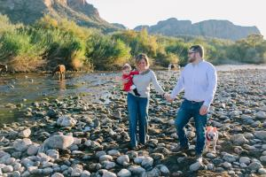family portraits at Salt River in Mesa, AZ with wild horses